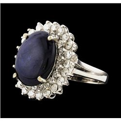 14KT White Gold 8.24ct Sapphire and Diamond Ring