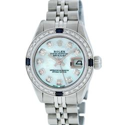Rolex Ladies Stainless Steel Sapphire and Diamond Datejust Wristwatch