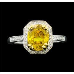 18KT White Gold 2.82ct Yellow Sapphire and Diamond Ring