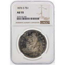 1876 $1 Seated Liberty Trade Dollar Coin NGC AU55