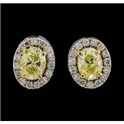 14KT Two Tone Gold 1.28ctw Diamond Earrings