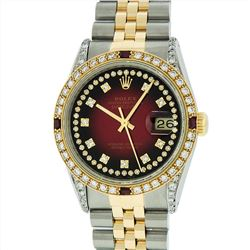 Rolex Mens Two Tone 14KT Yellow Gold Ruby and Diamond Datejust Wristwatch