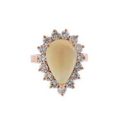 14KT Rose Gold 3.31ct Pear Shape Opal and Diamond Ring