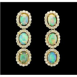 14KT Yellow Gold 4.72ctw Opal and Diamond Earrings