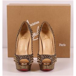 Authentic Christian Louboutin Gold Spike High Heels Lady Peep Strass