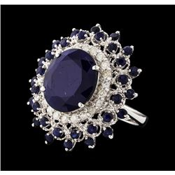 14KT White Gold 13.70ctw Sapphire and Diamond Ring