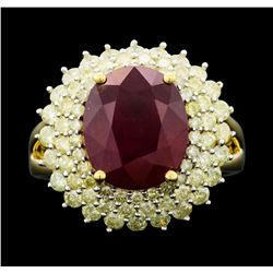 14KT Yellow Gold 7.42ct Ruby and Diamond Ring