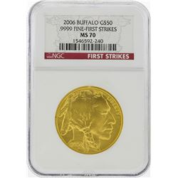 2006 $50 American Gold Buffalo Coin NGC MS70 First Strikes