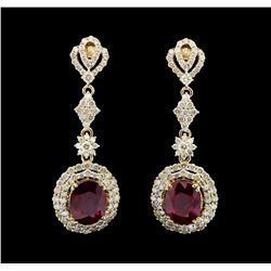 14KT Yellow Gold 7.30ctw Ruby and Diamond Earrings