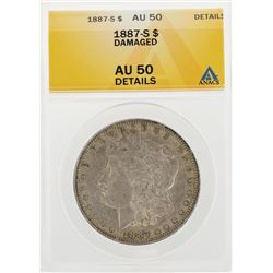 1887-S $1 Morgan Silver Dollar Coin Damaged ANACS AU50 Details