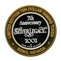 .999 Silver 7th Anniversary Silver Legacy $10 Casino Limited Edition Gaming Toke