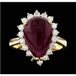 14KT Yellow Gold 7.19ct Ruby and Diamond Ring