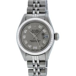 Rolex Ladies Stainless Steel and Diamond Datejust Wristwatch