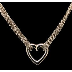 Sterling Silver Heart Shape Multi-Chain Necklace