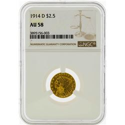 1914-D $2 1/2 Liberty Head Quarter Eagle Gold Coin NGC AU58