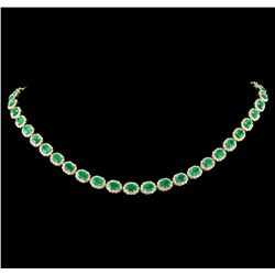 14KT Yellow Gold 18.13ctw Emerald and Diamond Necklace