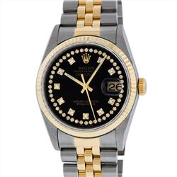 Rolex Mens Two Tone 14KT Yellow Gold Diamond Datejust Wristwatch