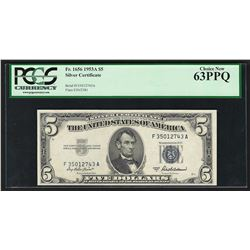 1953A $5 Silver Certificate Note PCGS Very Choice New 63PPQ