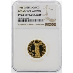 1985 Greece $10000 Drachmes Decade For Women Gold Coin PF69 Ultra Cameo