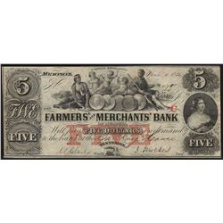 1832 $5 The Farmers and Merchants Bank Obsolete Bank Note