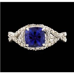 14KT White Gold 1.69ct Tanzanite and Diamond Ring