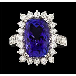 Platinum 7.64ct Tanzanite and Diamond Ring