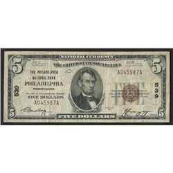 1929 $5 National Bank Note of Philadelphia Pennsylvania Charter #539