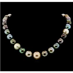 SILVER 12mm Tahitian Pearl Necklace