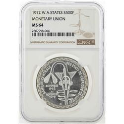 1972 Western African States 500 Francs Silver Coin NGC MS64