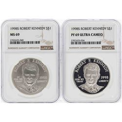 1998-S $1 Robert Kennedy Commemorative Silver Coins NGC MS69 & PF69 Ultra Cameo