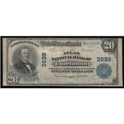 1902 $20 The National Bank of Cincinnati Ohio National Currency Note
