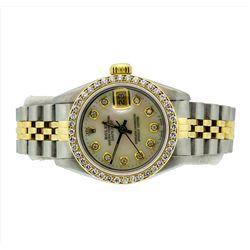 Rolex Ladies Two Tone 18KT Gold 1.00ctw Diamond Datejust Wristwatch