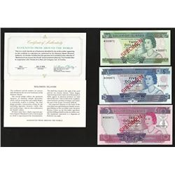 Set of (3) Solomon Islands Specimen Bank Notes