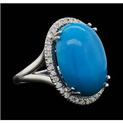 14KT White Gold 9.70ct Turquoise and Diamond Ring