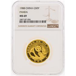 1988 China 50 Yuan Gold Panda Coin NGC MS69