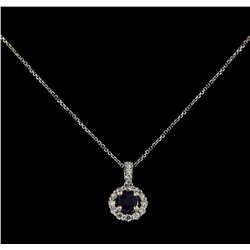 14-18KT White Gold 0.40ct Sapphire and Diamond Pendant With Chain
