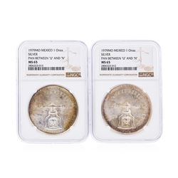 "Set of (2) 1979MO Mexico 1 Onza Silver Pan Between ""U"" and ""N"" Coins NGC MS65"