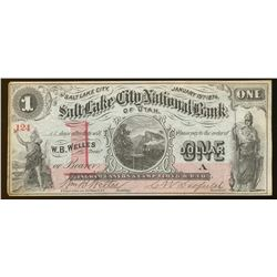 1874 $1 Salt Lake City National Bank Obsolete Bank Note