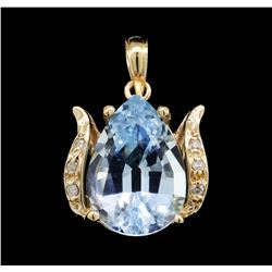 14KT Yellow Gold 6.40ct Blue Topaz and Diamond Pendant