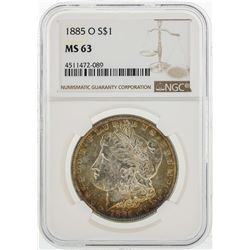 1885-O $1 Morgan Silver Dollar Coin NGC MS63 Nice Toning