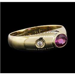 14KT Yellow Gold 0.60ct Pink Sapphire and Diamond Ring