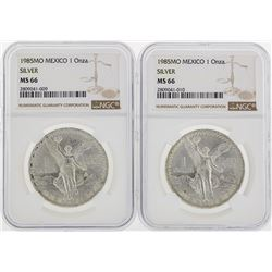 Set of (2) 1985MO Mexico $1 Silver Coin NGC MS66