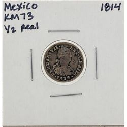 1814 Mexico 1/2 Reales KM73 Silver Coin