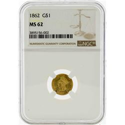 1862 $1 Indian Princess Head Gold Dollar Coin NGC MS62