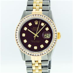 Rolex Mens Two Tone 14KT Yellow Gold 2.95ctw Diamond Datejust Wristwatch