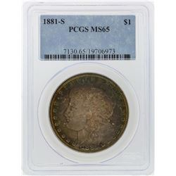 1881-S $1 Morgan Silver Dollar PCGS Graded MS65