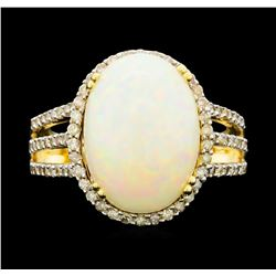 14KT Yellow Gold 6.55ct Opal and Diamond Ring
