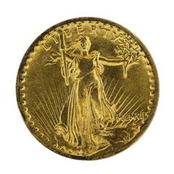 1907 $20 High Relief St. Gaudens Double Eagle Gold Coin Flat Rim