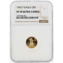 1992 $5 Proof American Eagle Gold Coin NGC PF70 Ultra Cameo