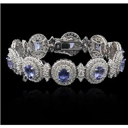 14KT White Gold 11.11ctw Tanzanite and Diamond Bracelet